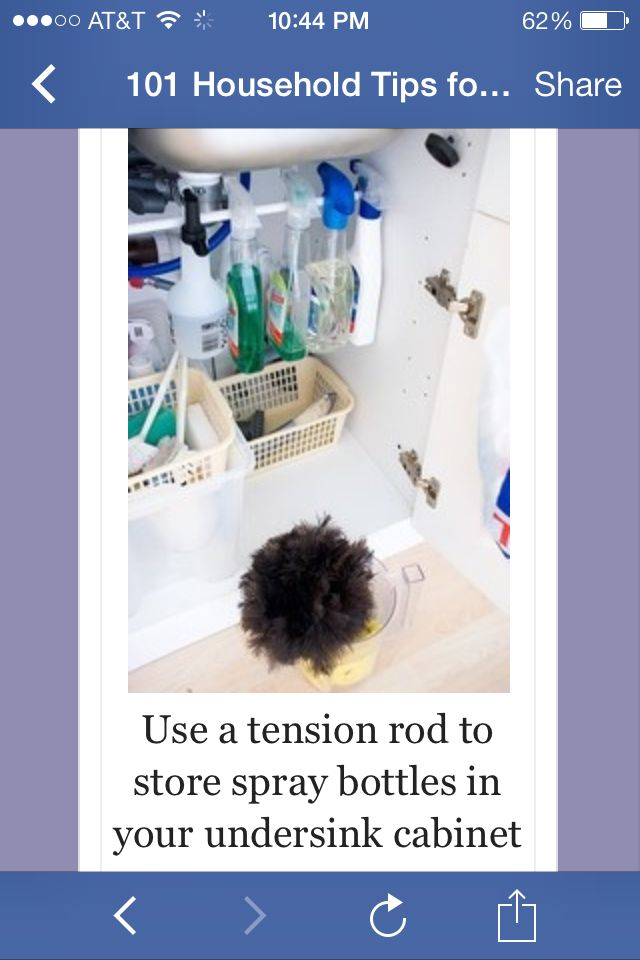 Tension rod for spray bottle storage
