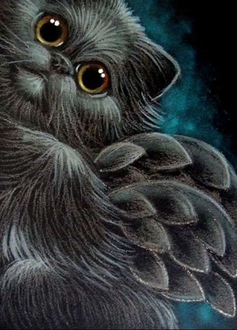 Art 'BLACK SMOKEY PERSIAN ANGEL CAT 1ST FLY' - by Cyra R. Cancel from Gallery