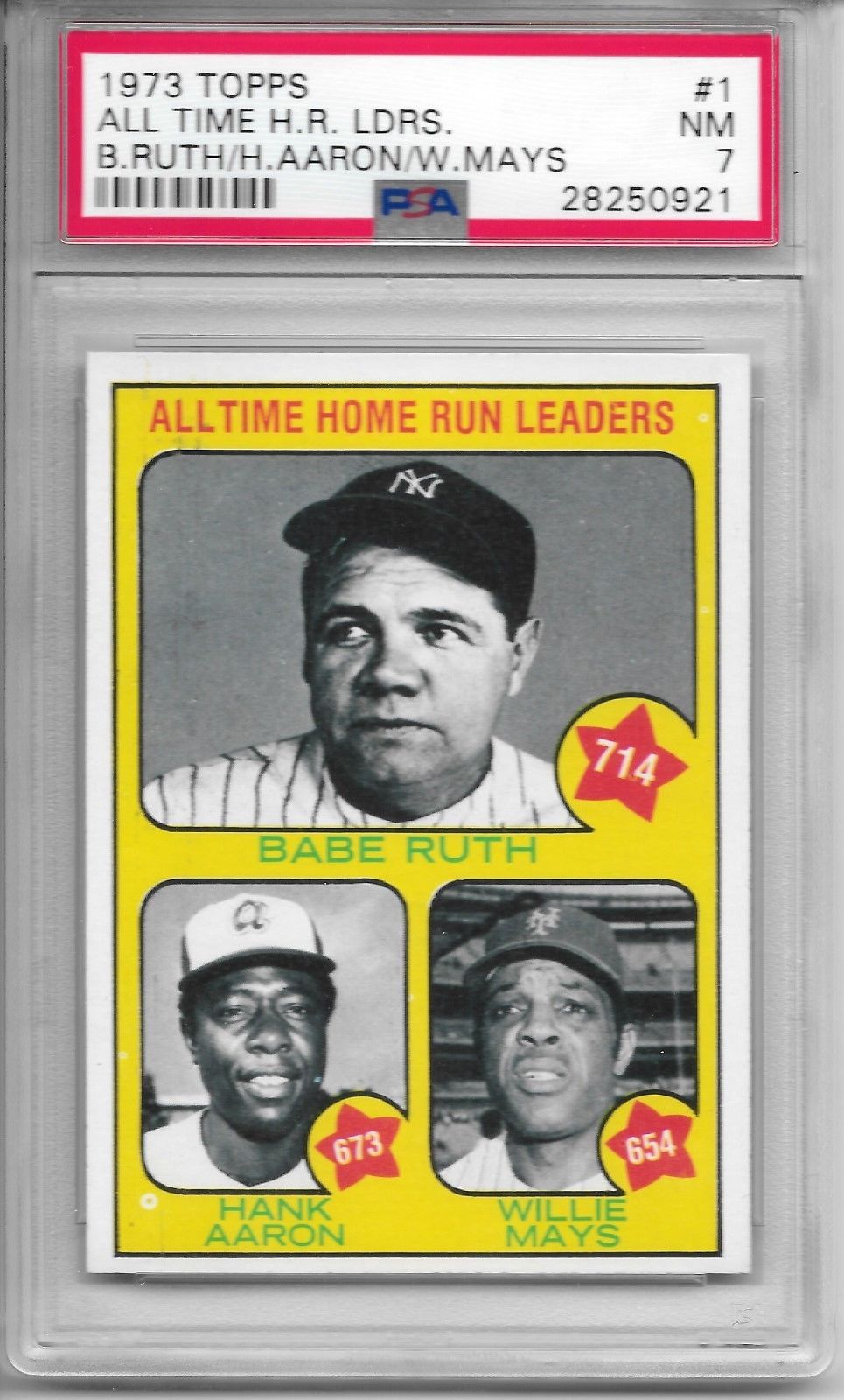 1973 Topps 1 All Time Home Run Leaders Babe Ruth Hank Aaron