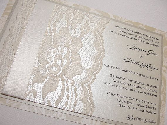 Lace Wedding Invitation Invite Floral MINA