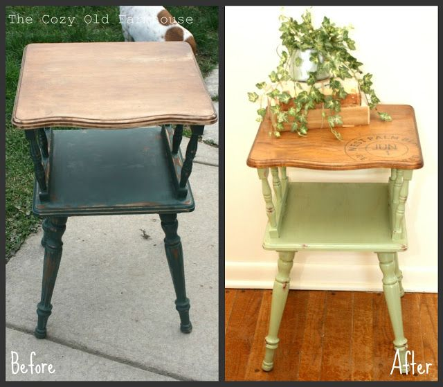 """The Cozy Old """"Farmhouse"""": Vintage Table Makeover & a Transparency Transfer"""