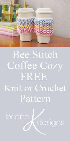FREE Coffee Cozy pattern using Michael's Loops & Threads Colorwheel Yarn by Briana K Designs