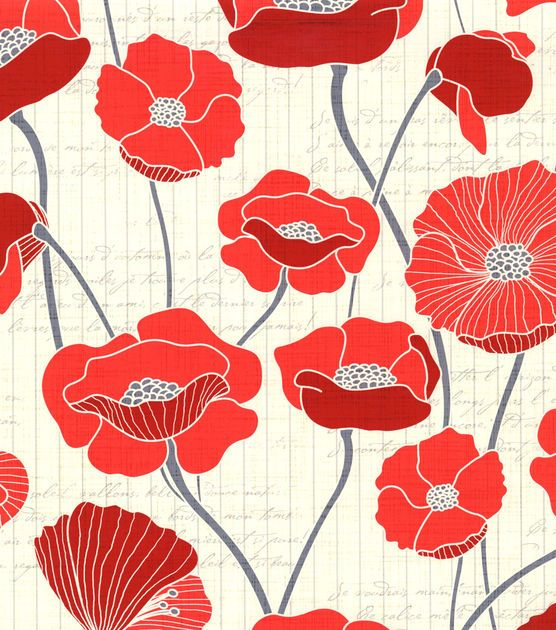 Patty Young Premium Quilt Fabric Vintage Poppies Red At