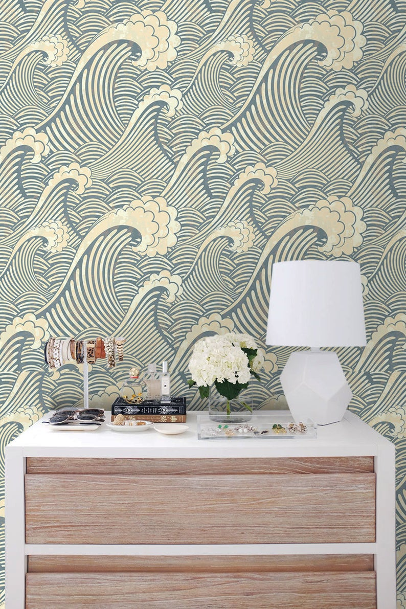 Waves Removable Wallpaper Traditional White Print Wall Mural Self Adhesive Wall Decal Temporary Peel And Stick 101 Removable Wallpaper Waves Wallpaper Wallpaper