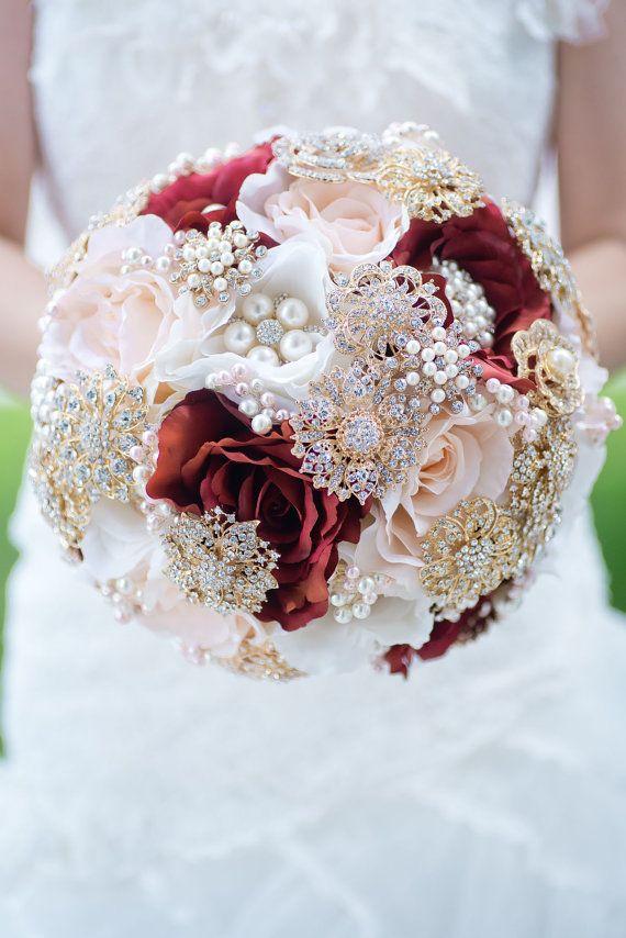 Custom Blush Burgundy Silk Flower Gold Brooch Bouquet, Pearl and ...