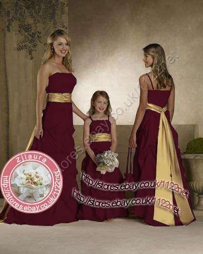 Burgundy And Gold Carnation Bouquets Long Sash Bridesmaid Dress