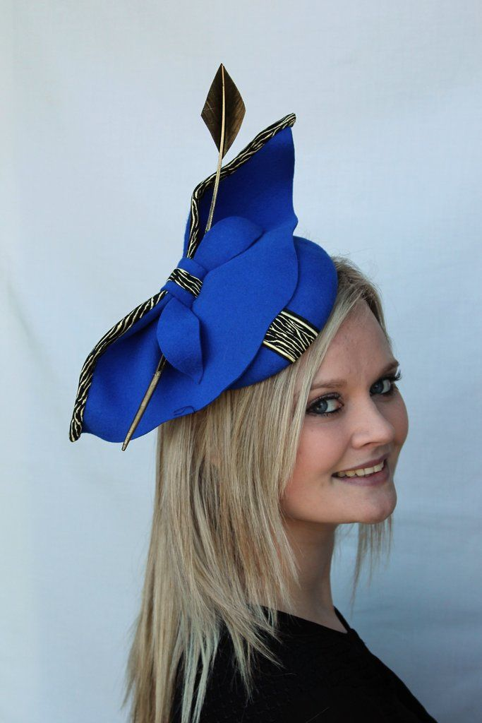 ef99b13c13f3e Cordelia - royal blue felt cocktail hat. Find this Pin and more on  Fascinators   hats by All dunn up ...