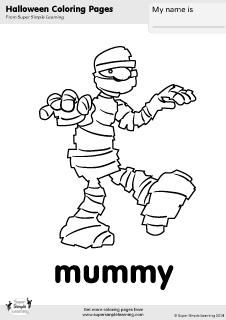Free mummy coloring page from Super Simple Learning Tons of