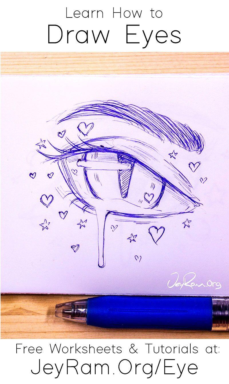 How To Draw Eyes Free Worksheet Tutorial In 2020 Eye Drawing Drawings Art Drawings Simple