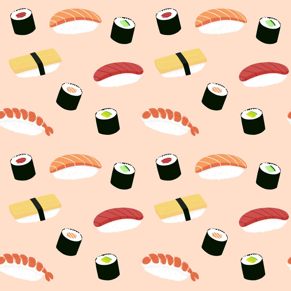 Lovely sushi - Seamless maki and nigiri sushi illustration pattern, pink background illustrati Art Print