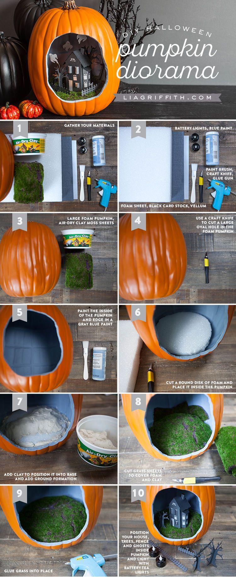 DIY Halloween Pumpkin Diorama diy craft halloween crafts how to - cute homemade halloween decorations