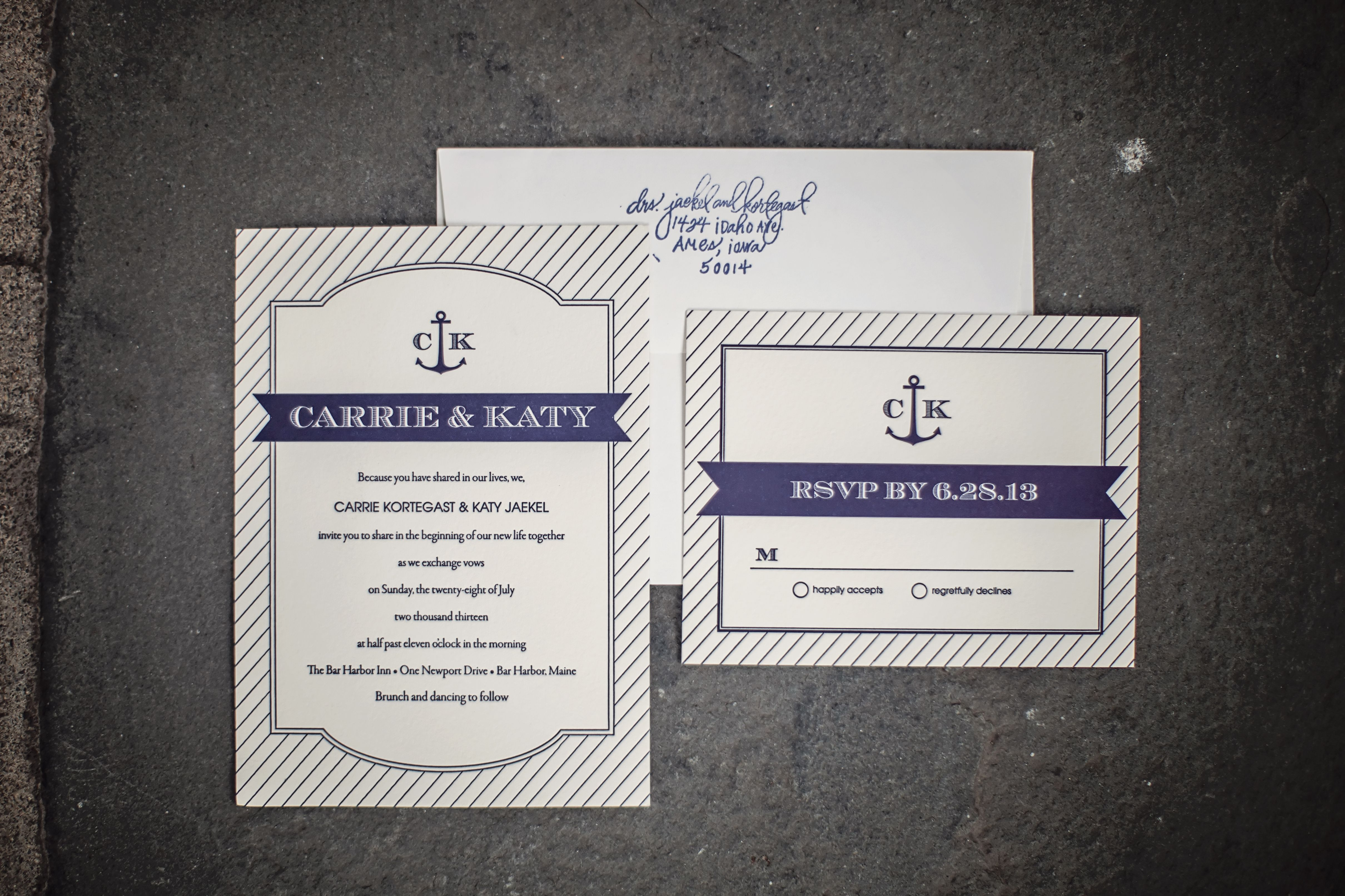 Nautical wedding invitations- Letterpress Navy Pinstripe with Anchor ...