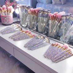 Tap photo to Shop or visit www.BlingedBrushes.com 💖 Hand-crafted luxury bling makeup brushes made with thousands of shimmering crystals and soft synthetic vegan bristles. The perfect makeup tool and vanity decor. Makeup brushes that are both beautiful and functional. #makeup #vanity #vanitydecor #makeupbrushes #makeuporganization #makeupbrushesset #bridalmakeup #giftforfriend #giftforher #giftformom #gifts #giftideas #crystals #bling #swarovski #glitter #bedazzled