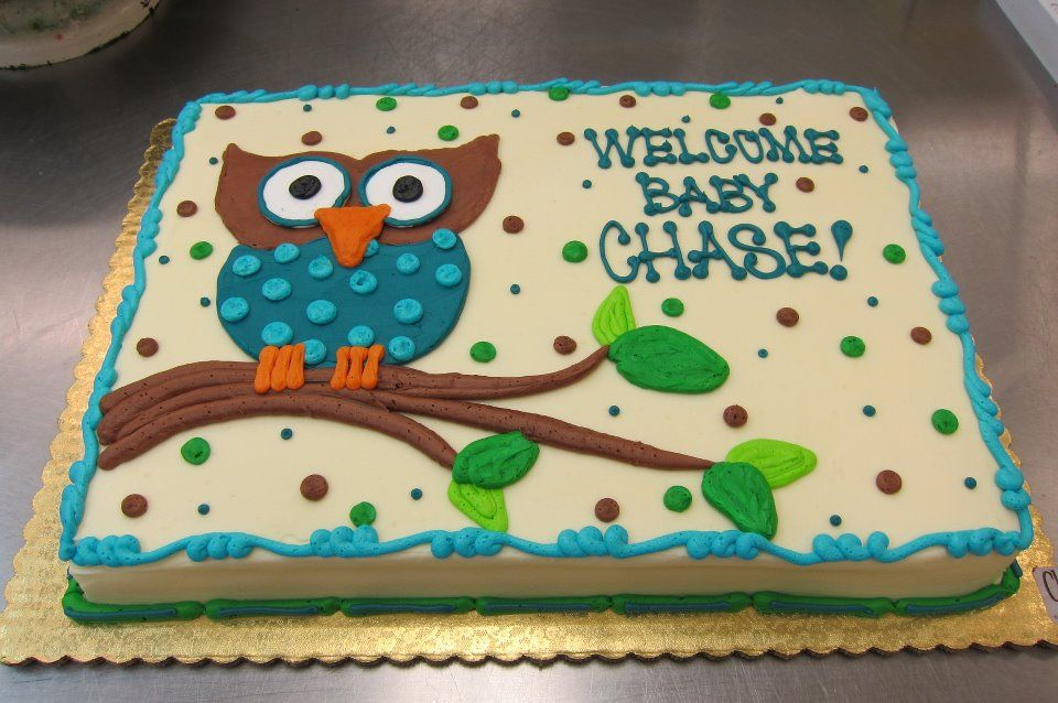 Owl Sheet Cake by Stephanie Dillon LS1 HyVee Bakery Department