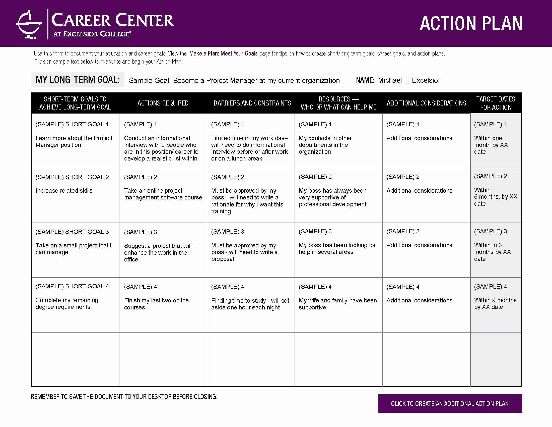 Action Plan Template For Students Beautiful Excelsior College Make A Plan Mee Simple Business Plan Template Marketing Plan Template Business Plan Template Free