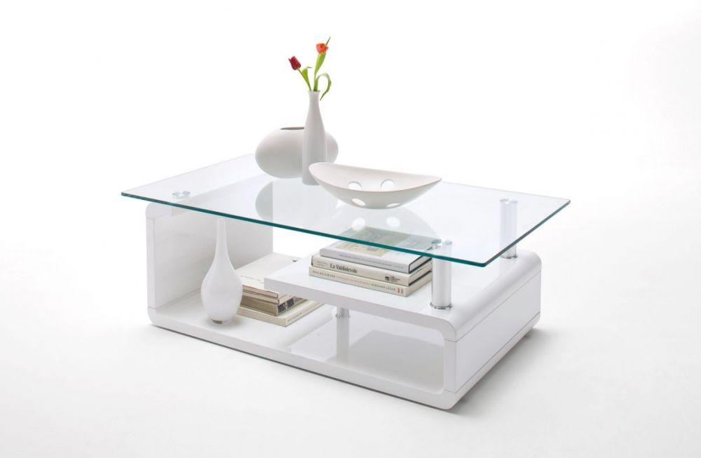 Aurelie Couchtisch Hochglanz Lack Weiß Mit Glasablage Wohnzimmer