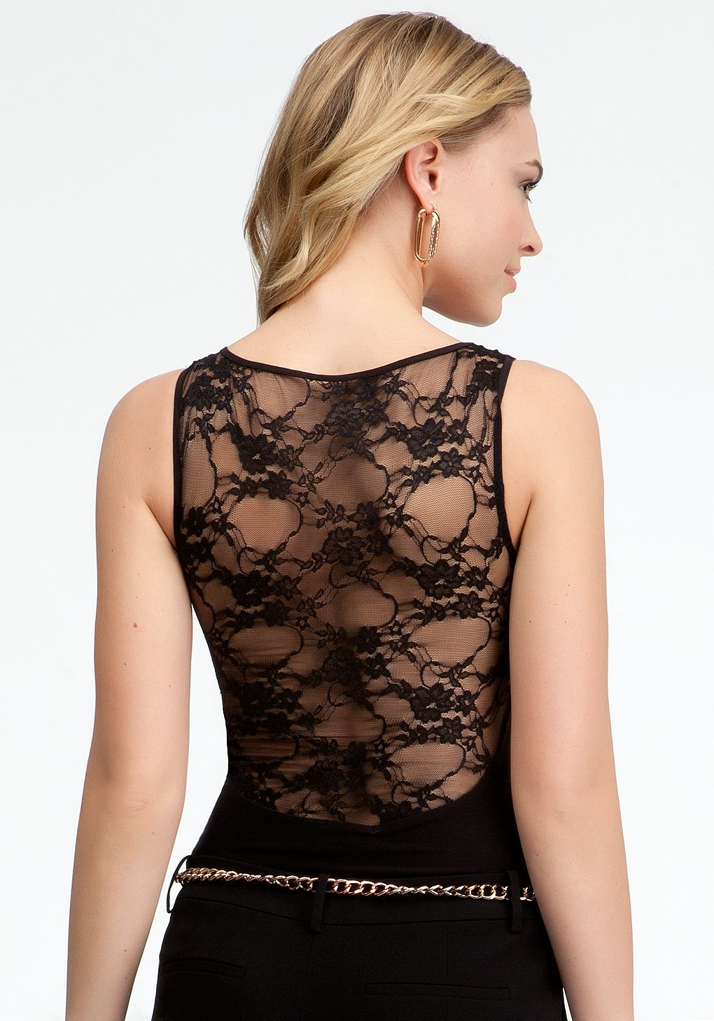 Lace bodysuit shirt  bebe  High Neck Lace Back Bodysuit  View All  Fashion u Style
