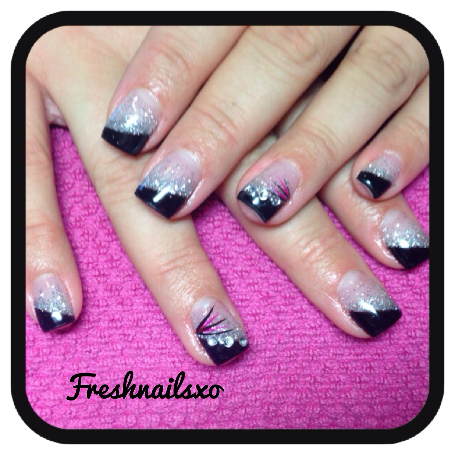 Black and silver nails   gel nails