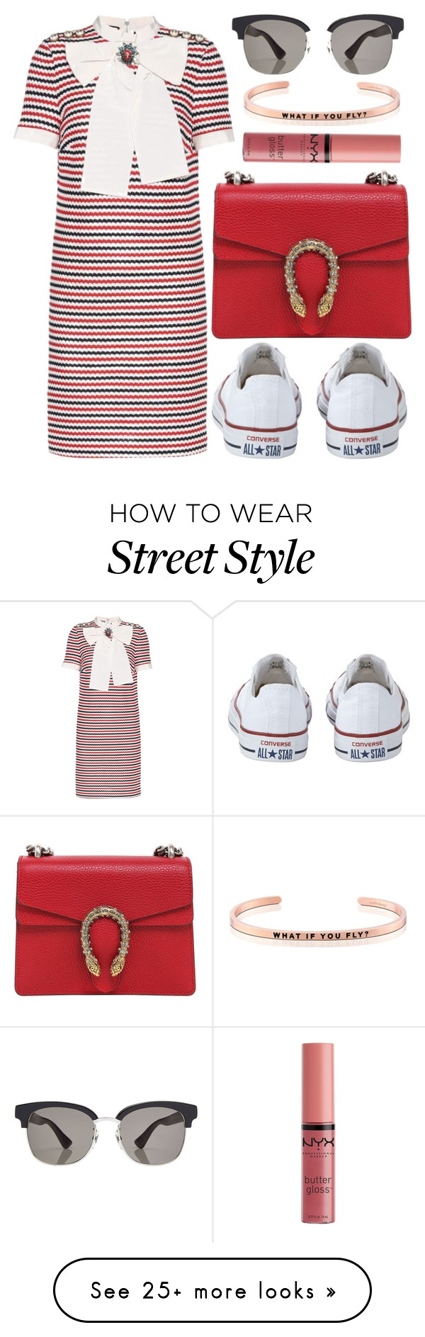 """street style"" by sisaez on Polyvore featuring Gucci, Converse, NYX and MantraBand"