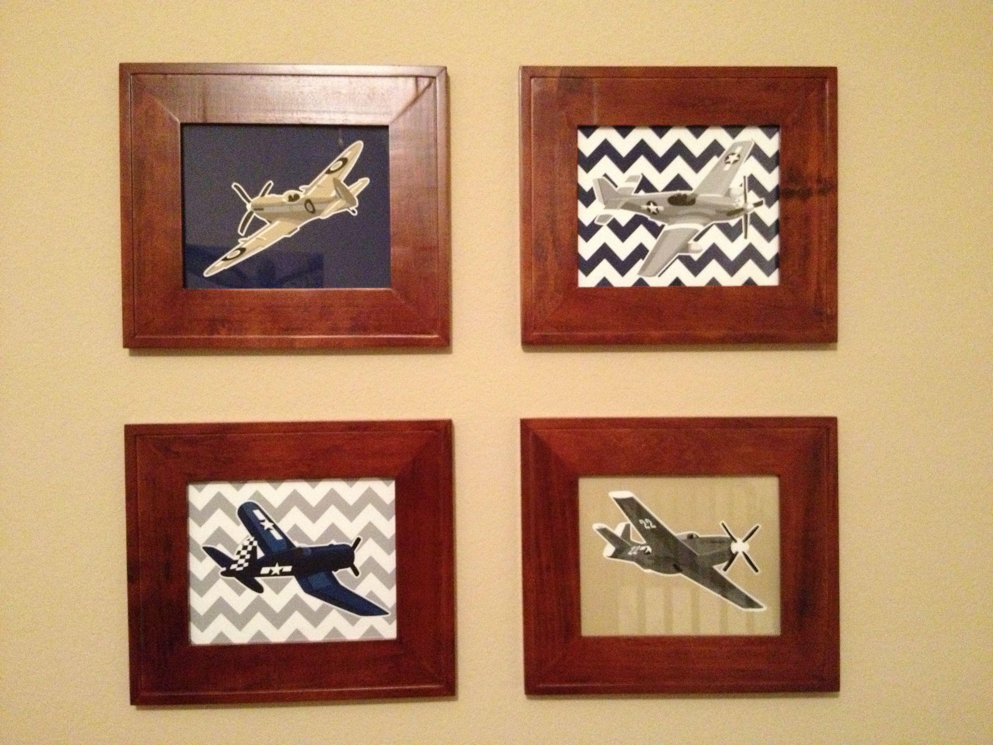 Airplane nursery. Customized chevron airplane prints from Etsy ...