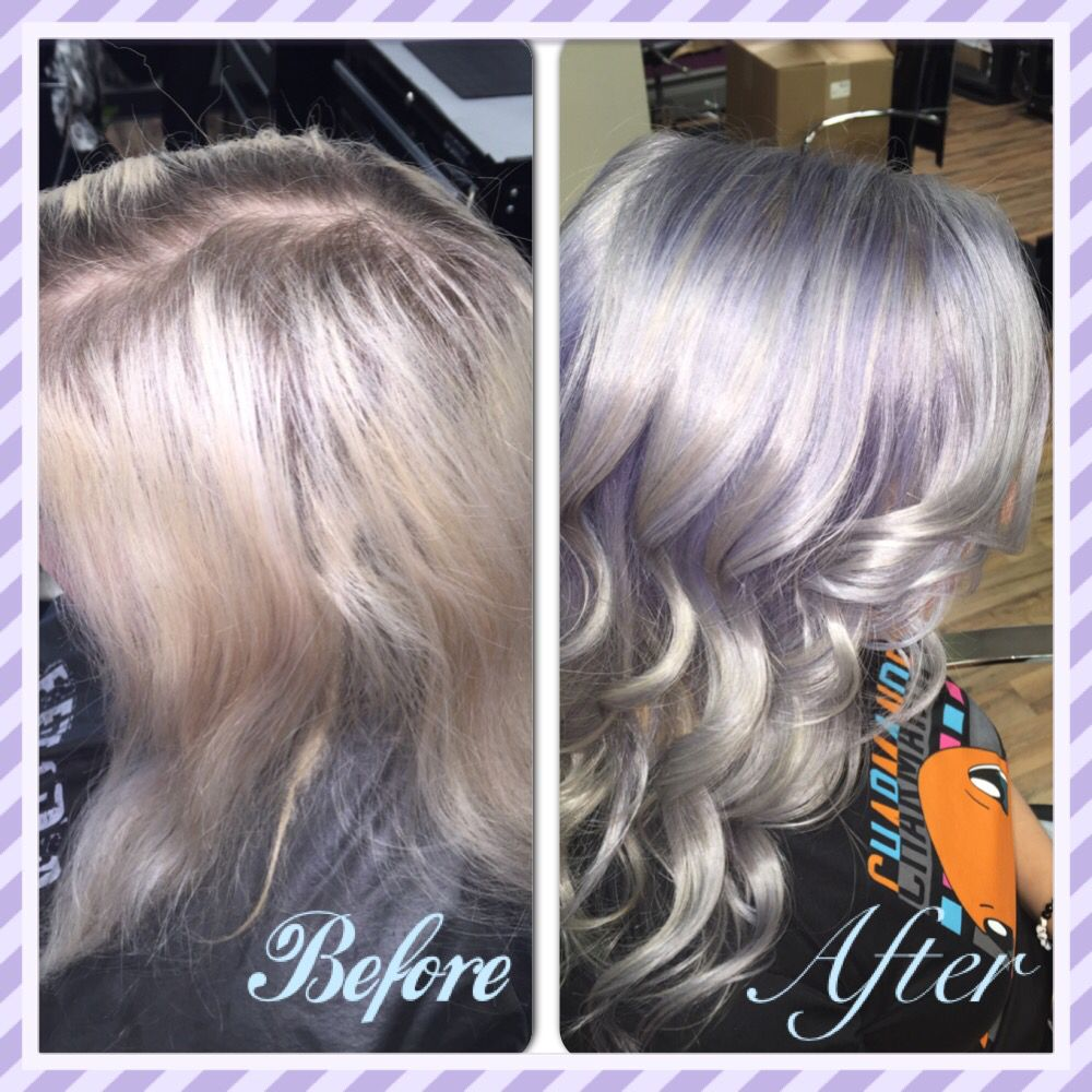 Before And After Pravana Color Vivids Lavender Silver Hair Done By