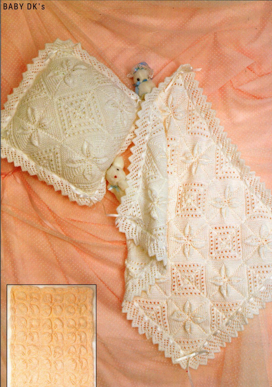 baby leaf pattern blanket cushion cover Knitting Pattern PDF DK pram ...