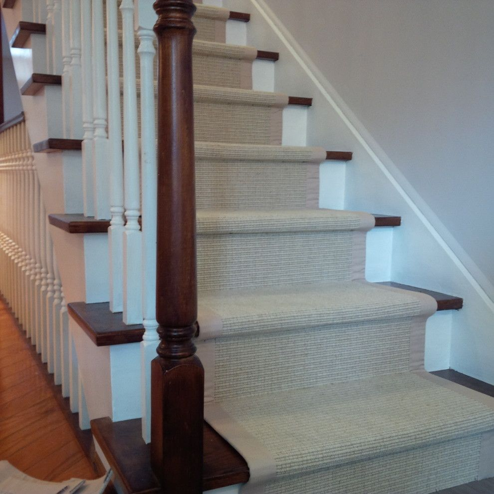 Stair Runner Ideas Staircase Traditional With Animal Print Carpet Beige1