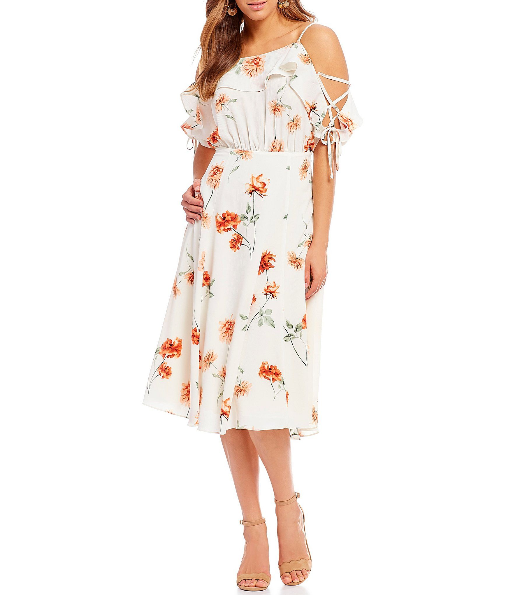 fb4b11a362d First Monday Floral Print Cold Shoulder Lace-Up Tie Sleeve A-Line Midi Dress