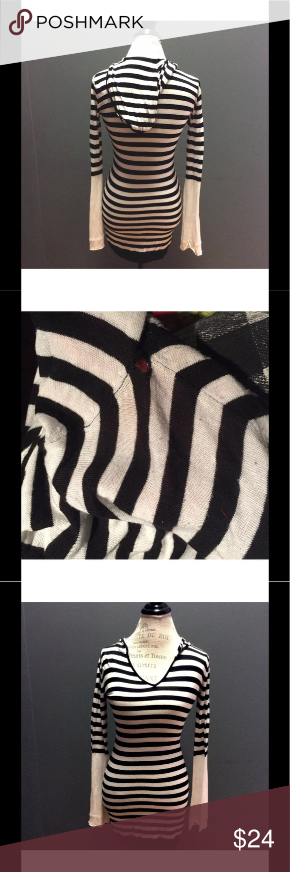 Black White Striped Long Tunic Sweater Hoodie M Black White ...