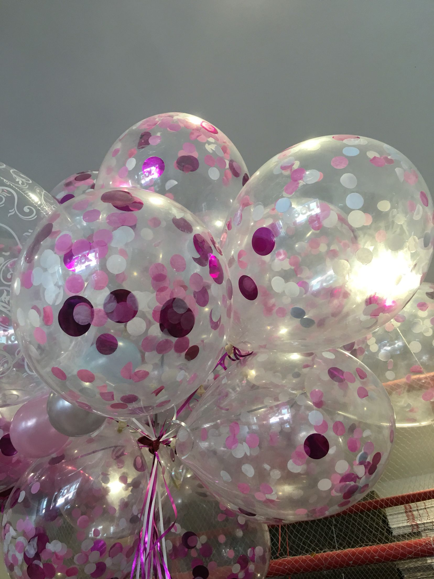 Pink Confetti Balloons Balloon Delivery Clear Gift