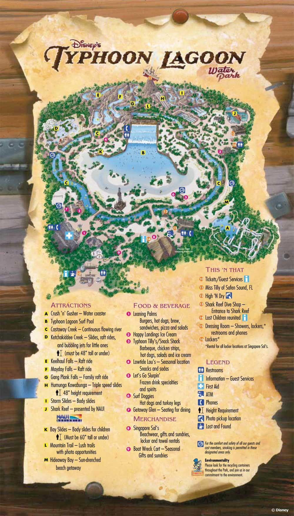 43754de42b7a2 Disney's Typhoon Lagoon Water Park map | Disney movies, Online Disney  movies, New Disney Movies