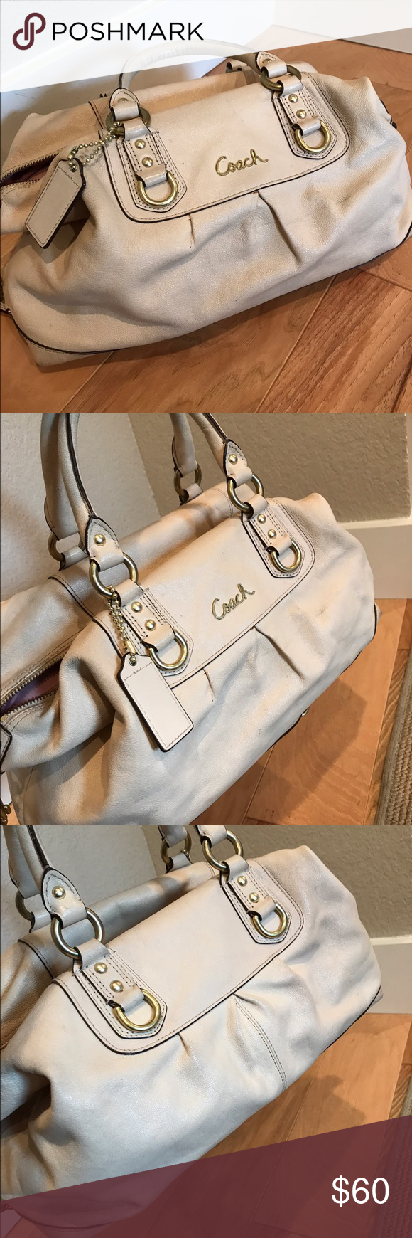 Coach Purse Used Beige Leather Coach Purse with Gold accent and hardware. Normal wear and tear visible and has been kept in dust bag. Coach Bags Shoulder Bags