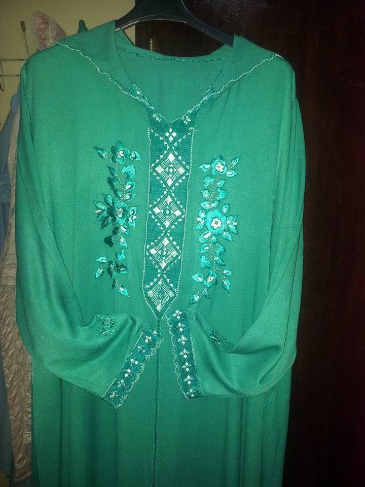 جلابة بالراندة باللون الأخضر من تصميم الأخت Samira Haouti مع الطرز Long Sleeve Blouse Fashion Women