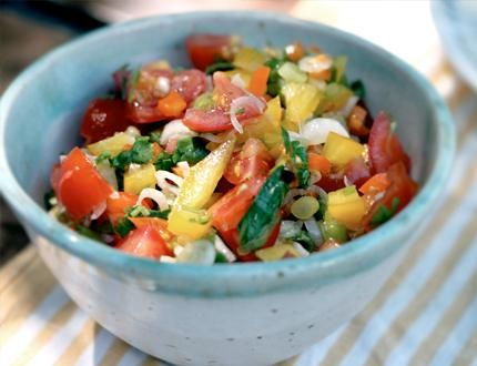 RAW SALSA  Ingredients:  1 cup chopped cherry tomatoes  ½ red bell pepper, chopped fine  ½ orange or yellow bell pepper, chopped fine  ½ red onion or 4 green onions, minced  ¼ cup chopped cilantro  ½ clove garlic, minced  juice of ½ lime  1 tsp. raw honey  1 Tbsp. extra virgin olive oil  pinch of sea salt