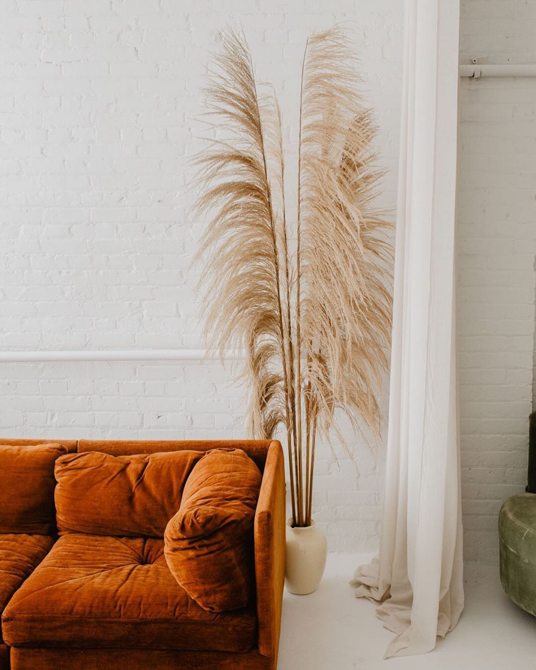 Burnt Orange Couch And Dried Pampas Grass