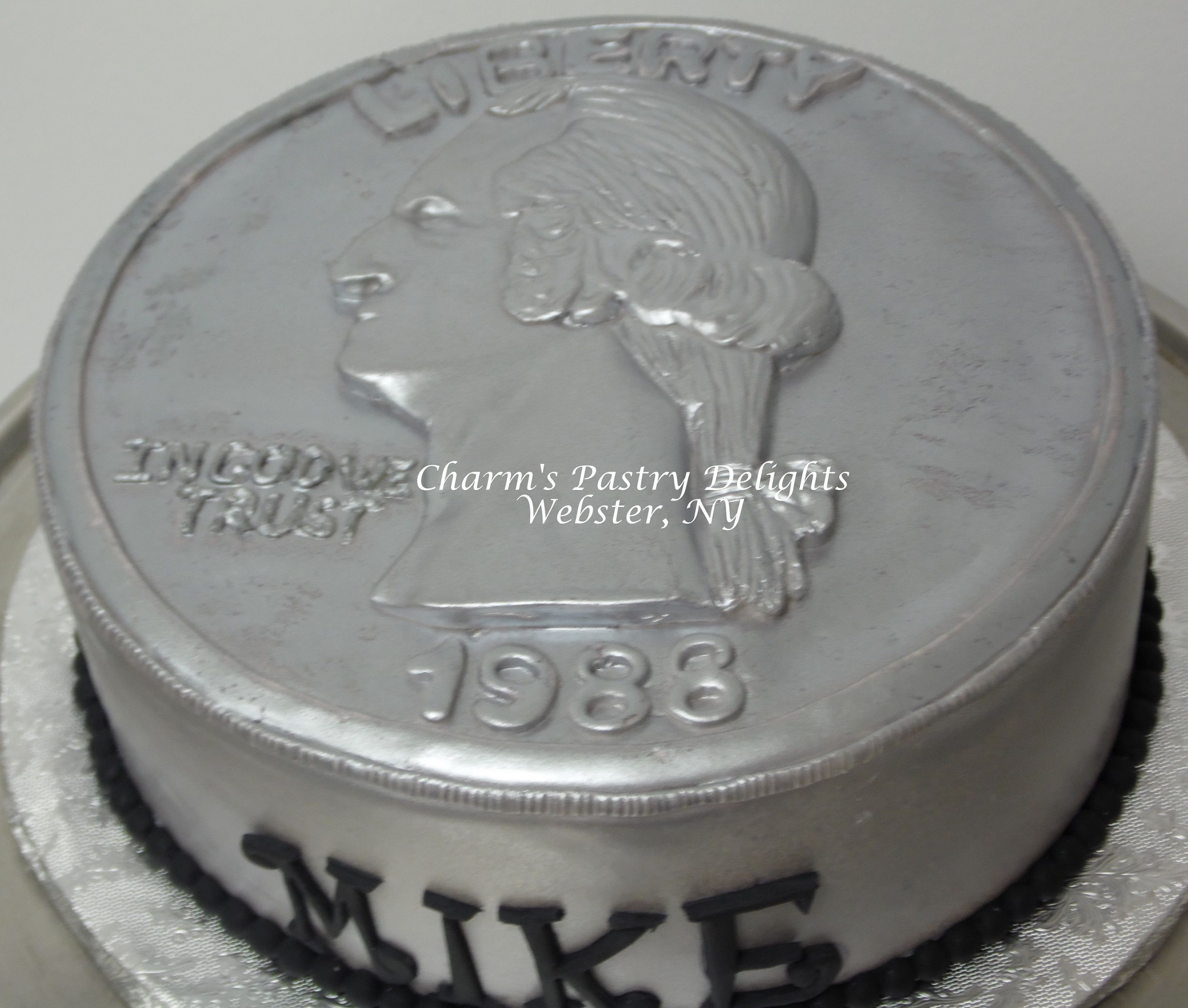 Brilliant Quarter Coin Cake With Images 25Th Birthday Amazing Cakes Cake Birthday Cards Printable Nowaargucafe Filternl