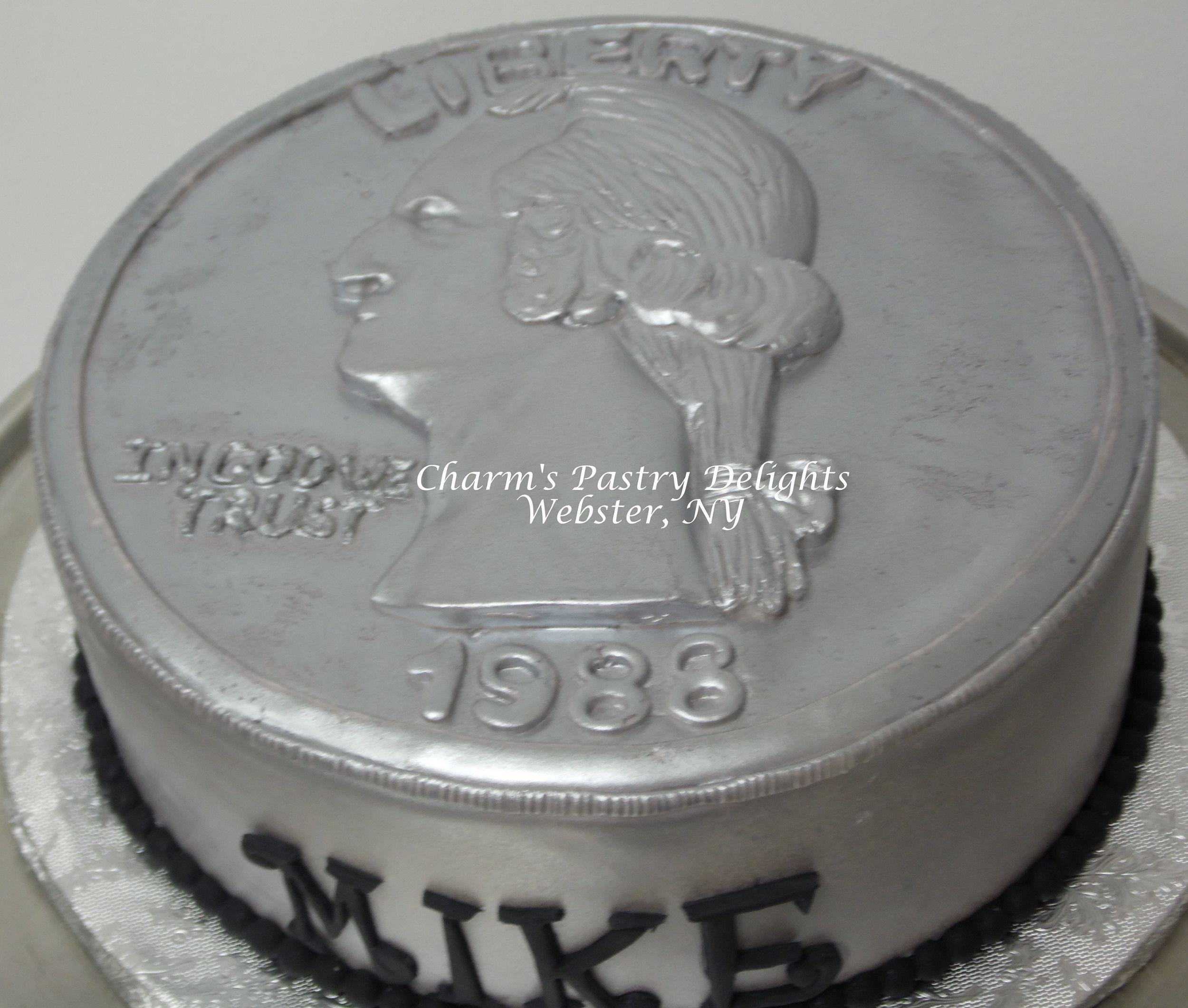 Quarter Coin Cake 25th birthday, Amazing cakes, Cake