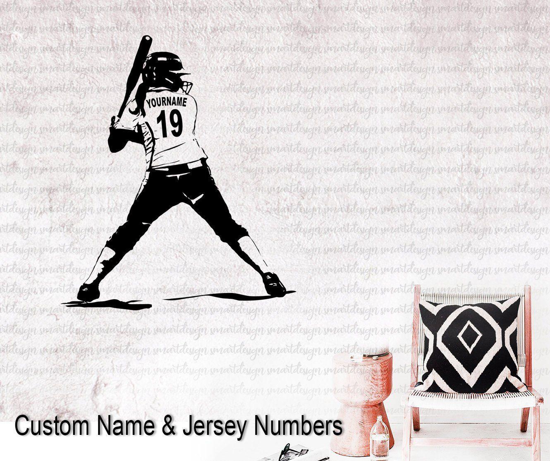 Softball Wall Art Custom Name Softball Girl Player Decal Wall