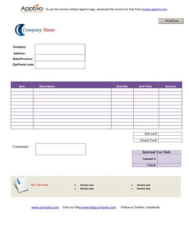 Simple Service Invoice Template for different businesses Invoice