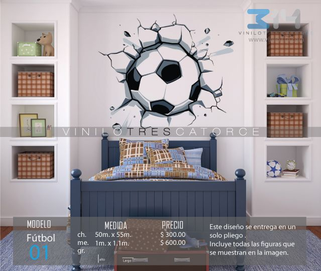 Vinilo 3 14 vinilos decorativos deportivos bal n de for Calcomanias para dormitorios