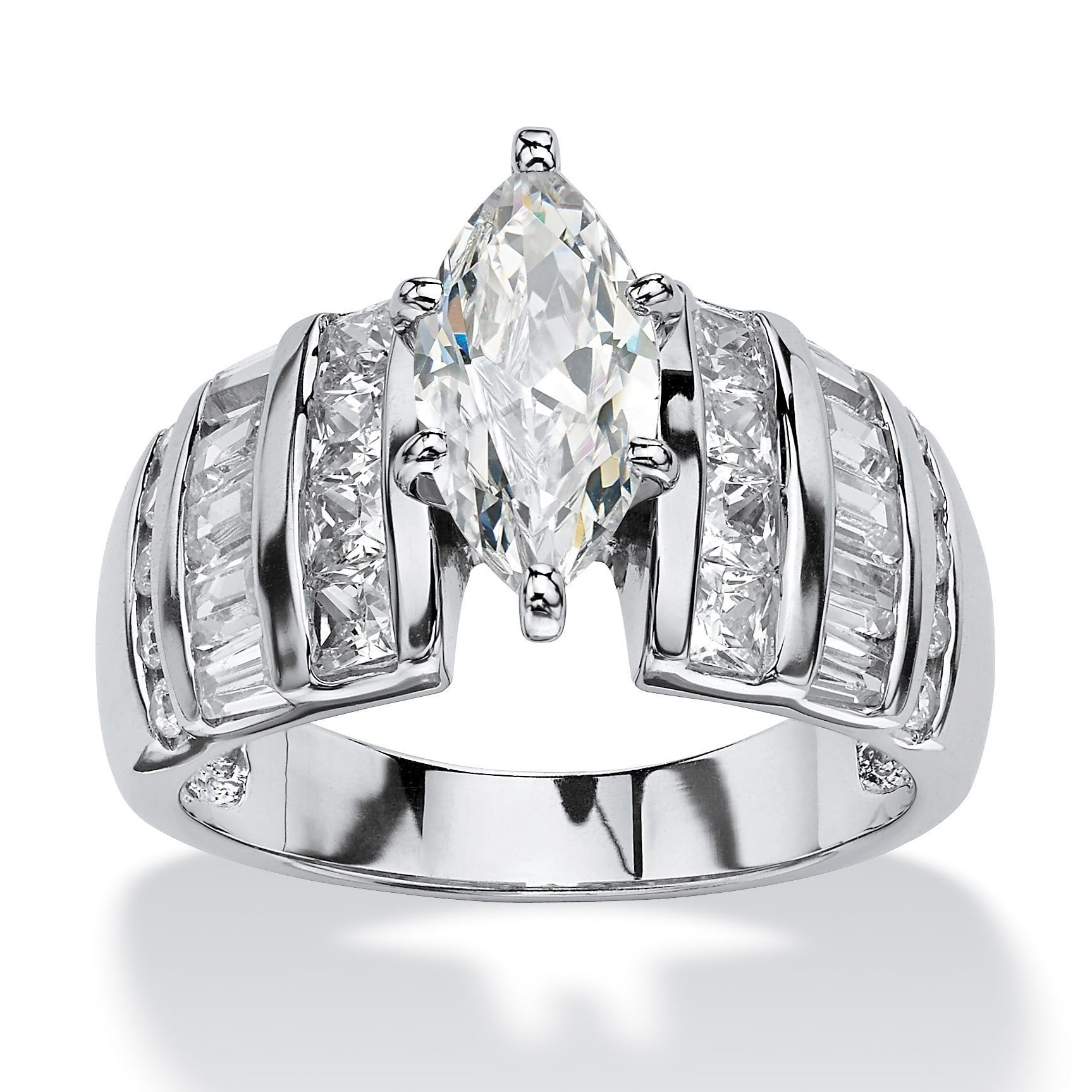 Palm Beach Jewelry Platinum over Sterling Silver Cubic