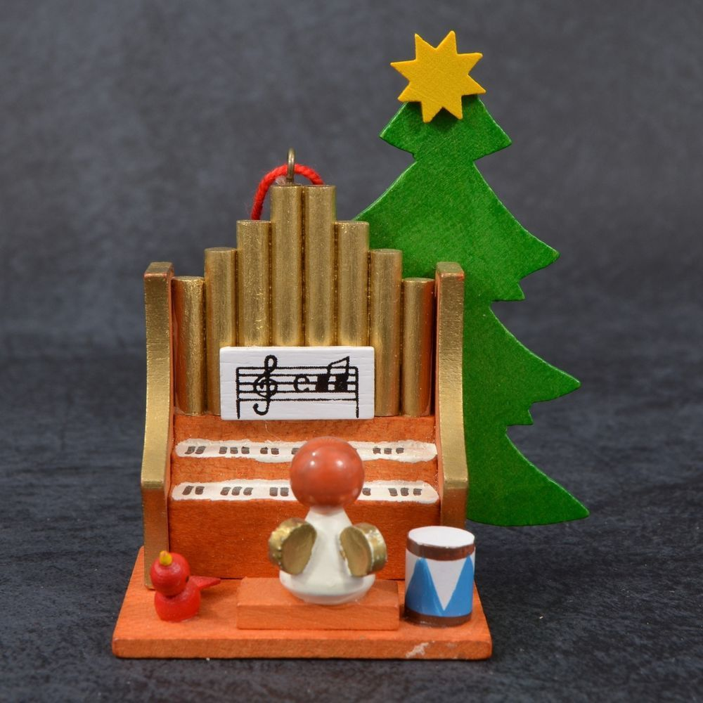 Rare Holzkunst Ulbricht Germany Wooden Angel Christmas Ornament Playing Organ Wooden Angel Christmas Angels