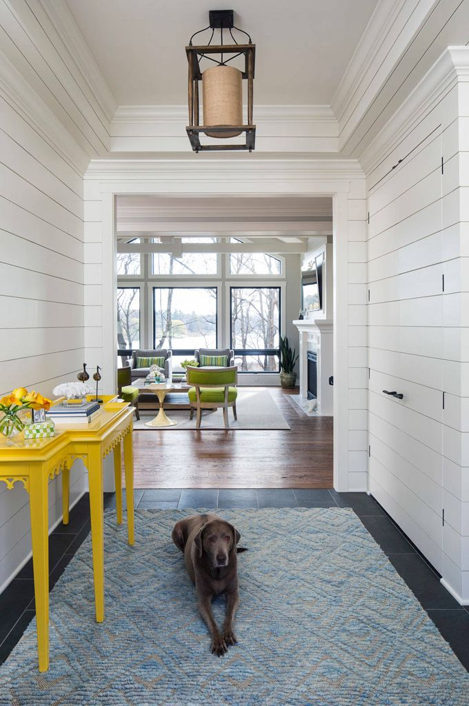 Entry Hall With Shiplap And Yellow Table Via House Of
