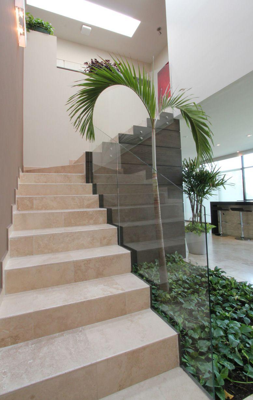 Escalera con barandal de vidrio junto a peque o jard n for Modelos de jardines interiores