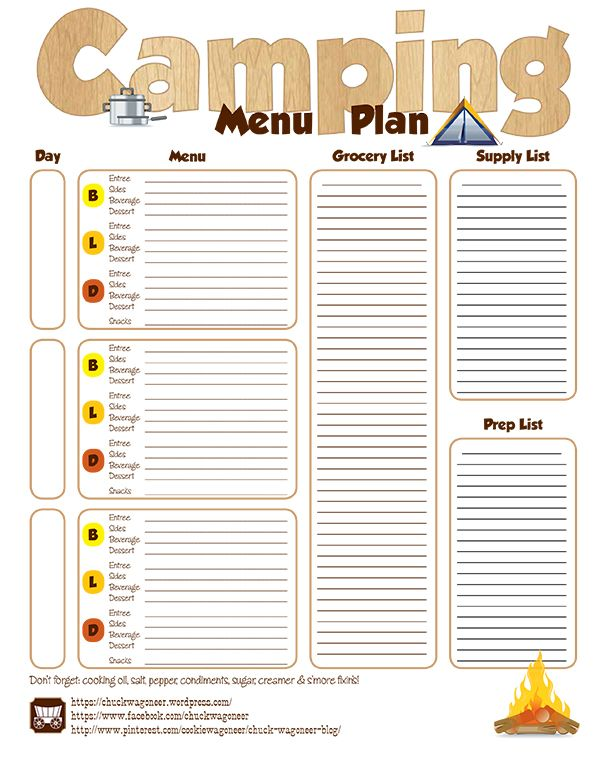 Step-by-Step Camp Menu Planning | Menu planning, Menu and ...
