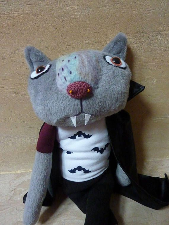 Vampire Cat Funny Gray Plush Gothic Emo Style Toy Stuffed Toy