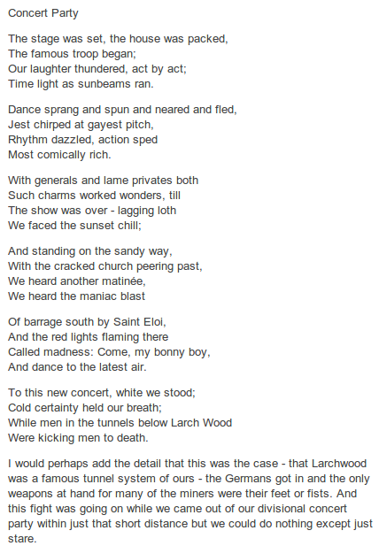 Concert Party By Edmund Blunden 1896 1974 Http Annabelchaffer Com Words Concert Poetry