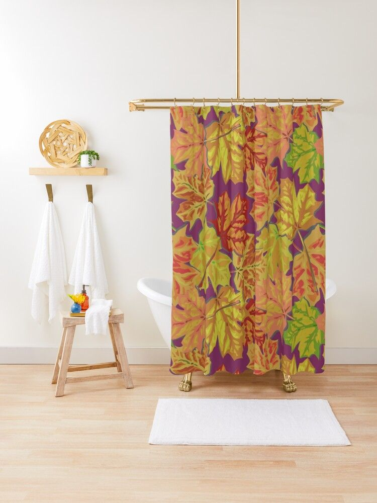 Colorful Fall Leaves On An Eggplant Background Shower Curtain By Bigal3d Fall Colors Autumn Leaves Designer Shower Curtains