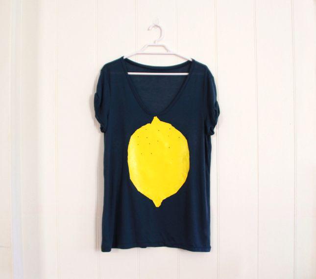 Lemon Print Tee Tutorial inspired by Boho Choses tees