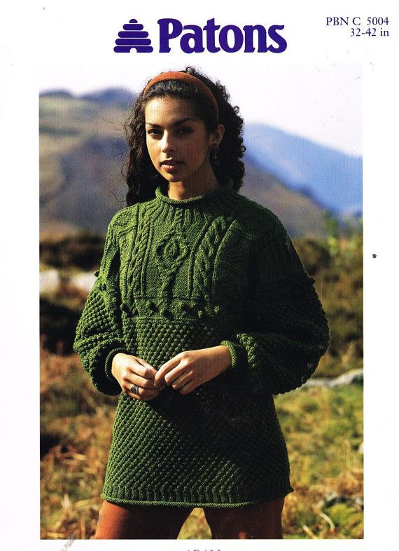ladies aran jumper vintage knitting pattern PDF instant download